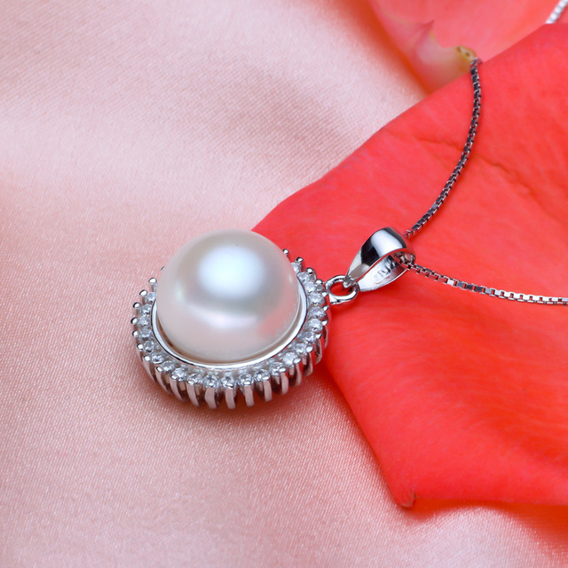 925 silver freshwater pearl  pendants steamed round black rings