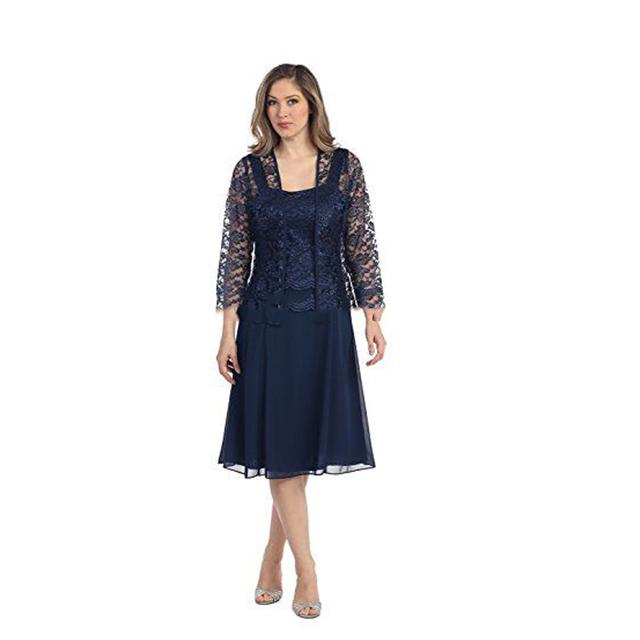 Venda quente Mãe da Noiva Vestidos Vestidos com Jacket Lace Vestido Azul Marinho de Prata Vestidos de Comprimento Chá Plus Size