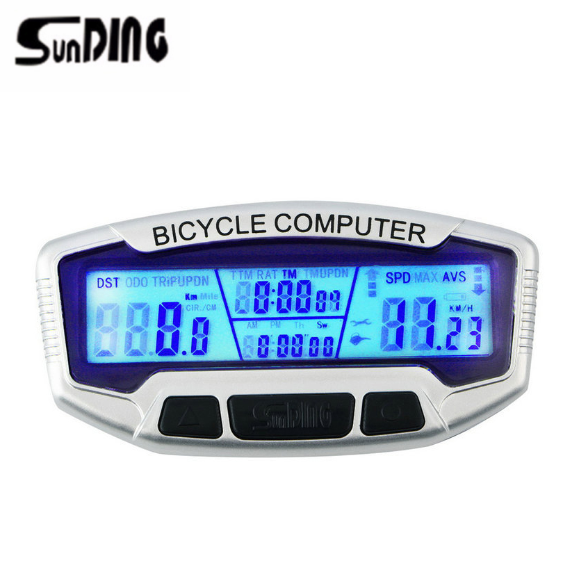 SunDing 558-A Wired Bike Computer With Backlight Luminous Waterproof Bicycle Odometer Speedometer Cycling Stopwatch Velometer