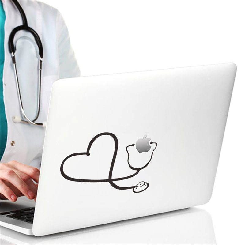 Creative Love Heart Stethoscope Computer Laptop Wall Decals Home Decor Hospital Doctor Office Decoration Car Stickers Cool Gift