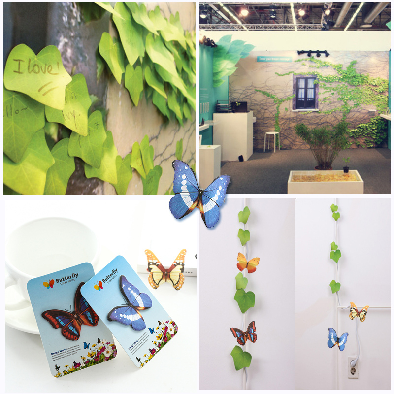 Cute Kawaii Leaf Butterfly Wall Stickers Memo Pad Sticky Notes  Students Planner  Stationery Office School Supplies