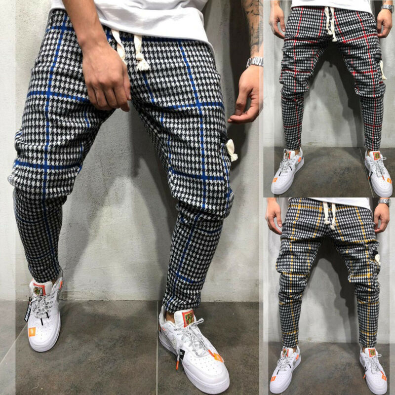 2019 Brand New Style M-3XL Men Gym Trousers Plaid Tracksuit Bottoms Skinny Joggers Sweat Track Pants