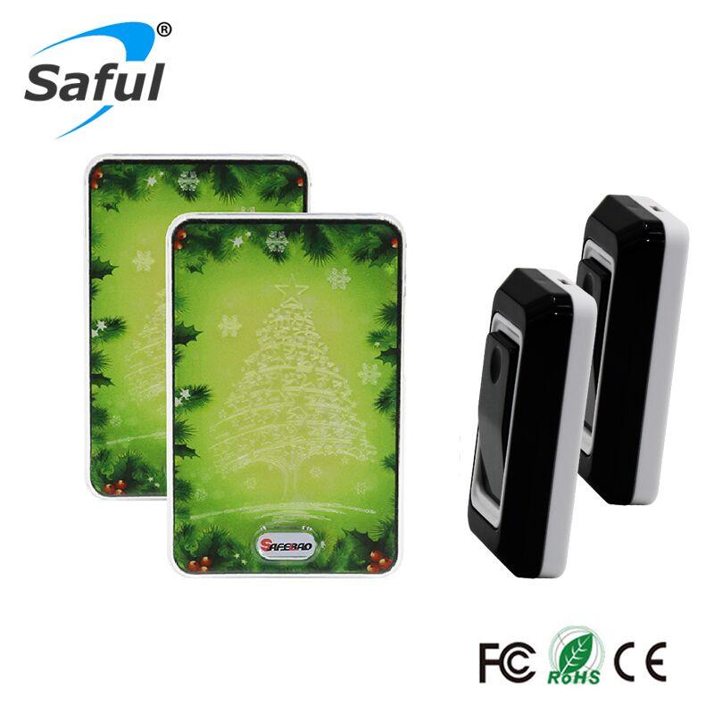 Saful Waterproof Wireless DoorBell AC 100-240V Green design LED light 2 Outdoor Transmitter +2 Indoor Wireless Doorbell Receiver