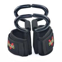 1 Par acolchado ajustable de gancho de levantamiento de pesas Fitness culturismo entrenamiento de la fuerza Wrist Wraps correas Gimnasio muñequera bandas de apoyo