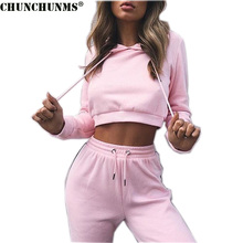 2017 Cotton Hoodies And Trouser Two Piece Woman Tracksuits Sexy Cropped Top And Pant Woman Set Fitness Casual Woman Set S02