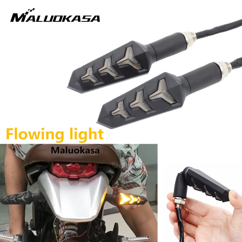 2PCS Motorcycle LED Turn Signals Flowing Water Blinker Flashing Lights Built Relay Bendable Motorcycle Tail Flasher Indicator
