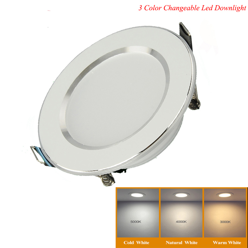 1pcs Changeable Led Downlight 5w 7w 9w 12w Ceiling Recessed Light Silver Frame 3 Color Change Warm Nature Cool White AC180-240V