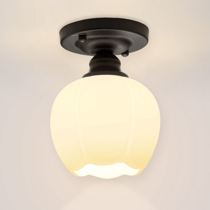 Modern White Glass Corridor Ceiling Light Painted Black Base Porch Hallway Ceiling Lamp Balcony Cloakroom Ceiling Lighting lamps