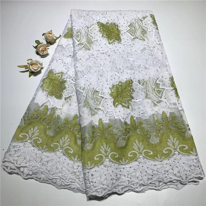 White And Green French Nigerian Laces Fabrics High Quality Tulle African Laces Fabric Wedding French Tulle With Stones 5 Yards(4