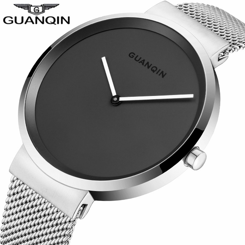 neos brand genuine watch men s stainless steel straps simple business fashion waterproof quartz fashion men s watch New GUANQIN Famous Brand Luxury Simple Design Mesh Strap Quartz Watch Men Fashion Business Stainless Steel Waterproof Wristwatch