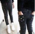 Девочки зима большой толстый бархат джинсы брюки джокер свободного покроя брюки дети