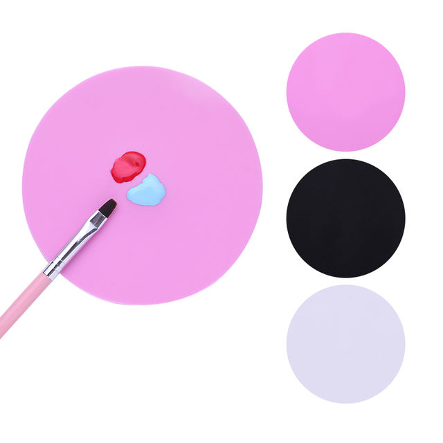 Silicone Paint Round Palette Mat White Black Pink Nail Art Stamping Pad DIY Drawing Color Manicure Nail Accessory Tools