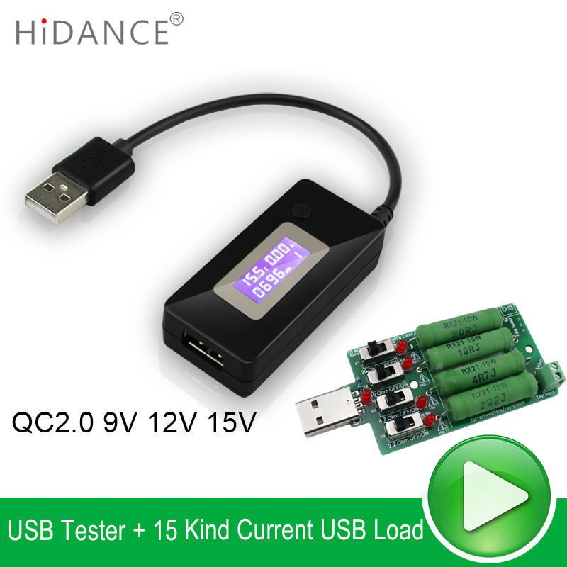USB tester DC Voltmeter ammeter voltage current meters capacity monitor qc2.0 quick charger detecto+ USB Discharge Load Resistor dual usb current voltage charger detector battery tester voltmeter ammeter