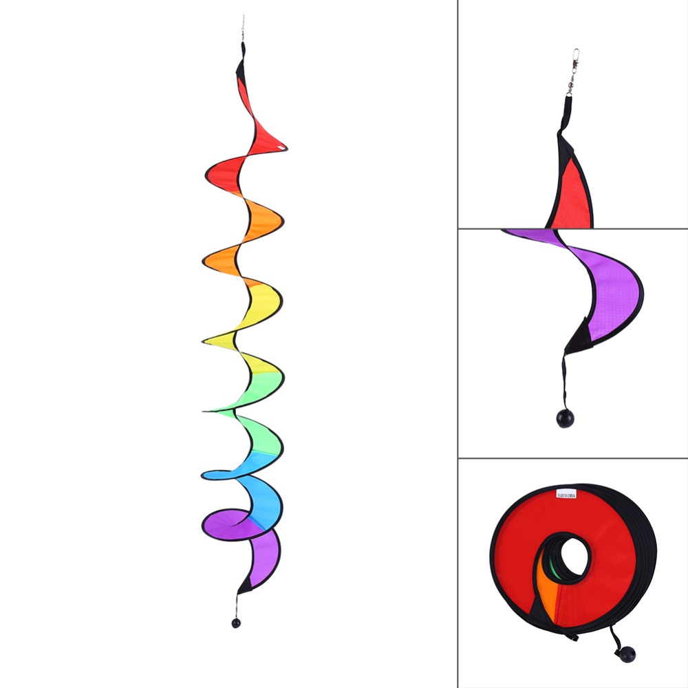Foldable Rainbow Spiral Windmill Garden Wind Spinner Camping Tent Home Garden Decor Free Shipping