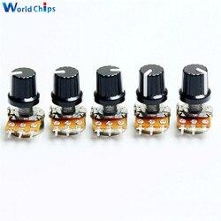 Potenciómetro giratorio para Arduino con perilla de tapa, 10 piezas, 1K, 10K, 20K, 50K, 100K, 500K, Ohm, resistencia de 3 pines, conicidad lineal, WH148