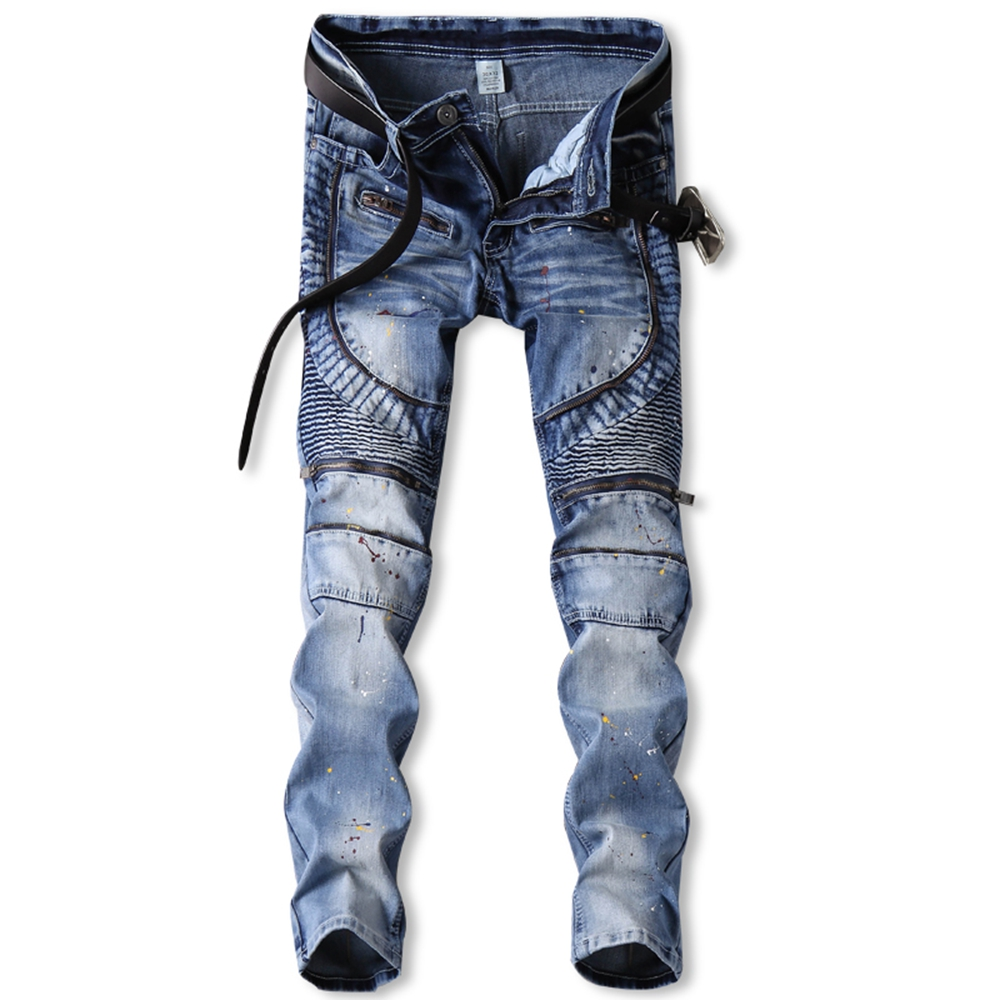 Men's slim fit classic blue biker jeans for moto Casual plus size denim cargo pants Fashion ripped jeans for man designer jeans