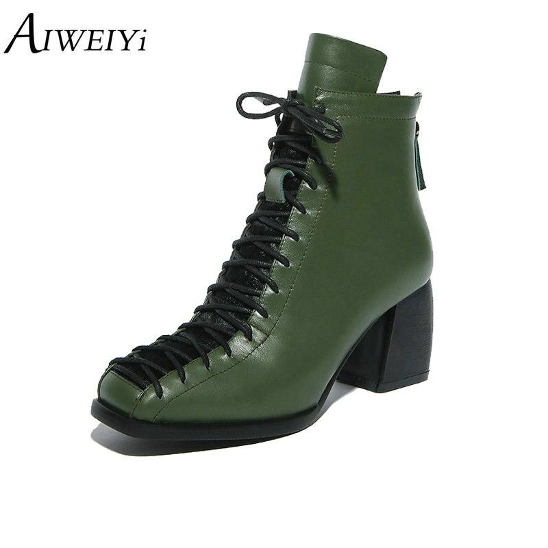 AIWEIYi 2019 الأزياء بوط من الجلد الطبيعي جلد البقر حذاء من الجلد النساء الخريف الشتاء مارتن الأحذية الدانتيل يصل الفراء أحذية دافئة امرأة-في أحذية الكاحل من أحذية على  مجموعة 1
