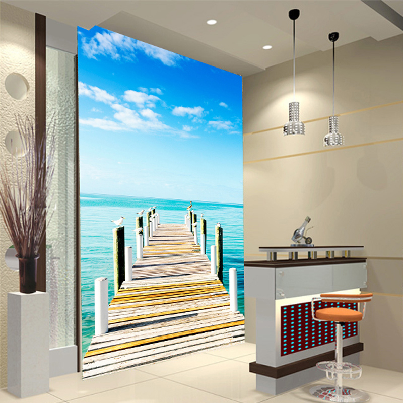 Custom aisle backdrop restaurant entrance personalized custom wallpaper 3D stereoscopic large mural of the Mediterranean Sea the new high quality imported green cowboy training cow matador thrilling backdrop of competitive entrance papeles