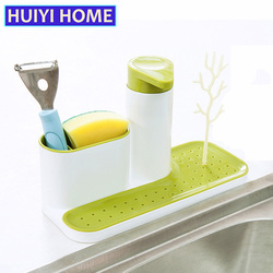 HUIYI HOME Dishwashing Sponge Holder 3-in-1 Kitchen Multi-Purpose Liquid Soap Bottle Draining Rack EGN189