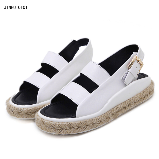 5c6ef856adc35 Women sandals fashion beach Casual Comfortable platform flat sandals Linen  rope weaving women boho shoes summer