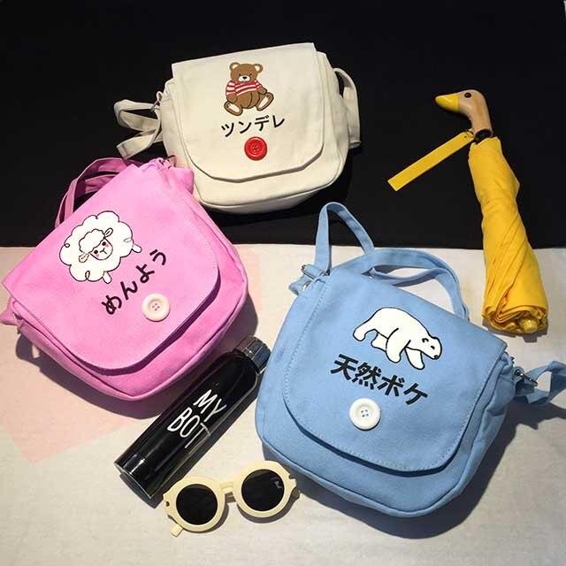 original design harajuku small canvas bag korean style messenger bag soft sister fresh preppy style women