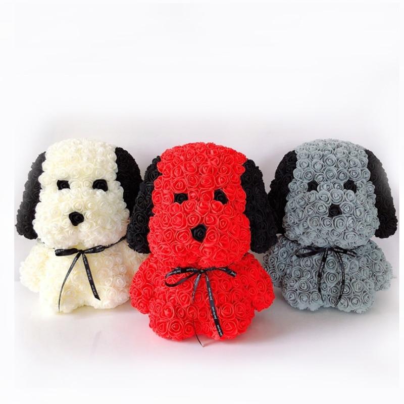 2 kinds PE Foam Rose Flower Dog Artificial Christmas Gifts for Women Girlfriend Kid Gift Plush Dog