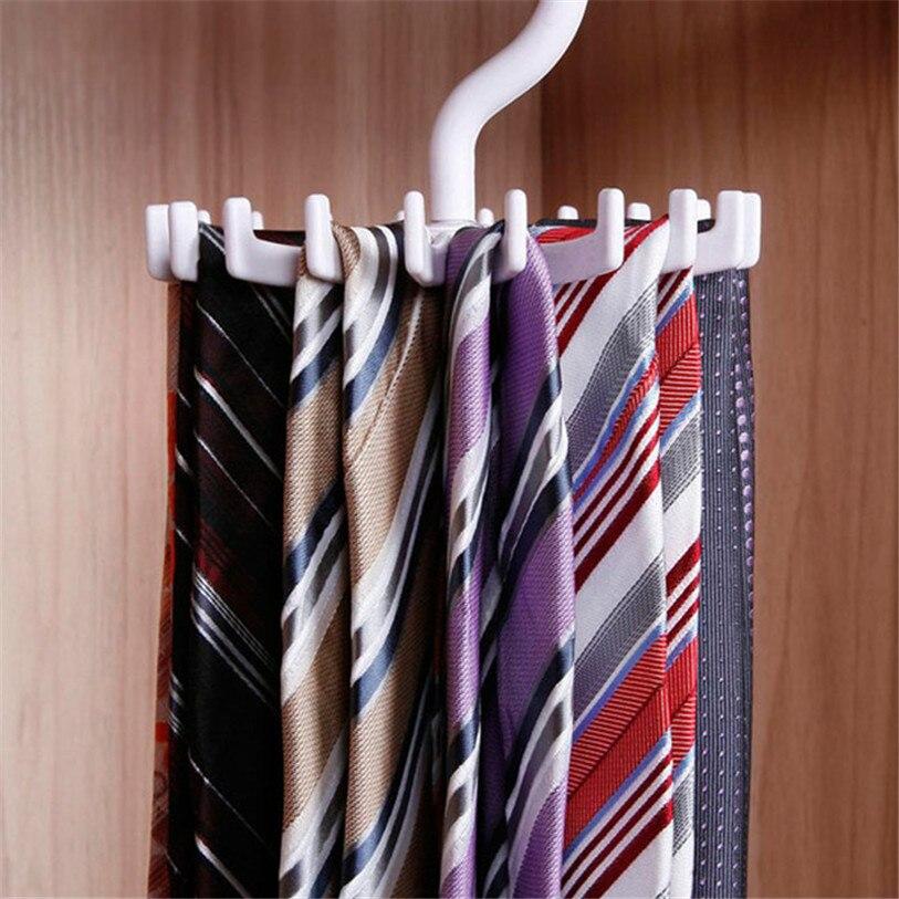 High Quality White Tie Storage Rack Rotating Hook Tie Holder 1 Piece Holds 20 Ties/Belts/Scarves Hanger 3JU1