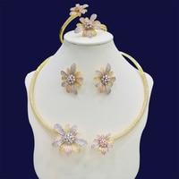 GODKI Luxury Daisy Flower Cubic Zirconia African Necklace Earring Set Nigerian Bridal jewelry sets For Women Dubai Jewelry 2018