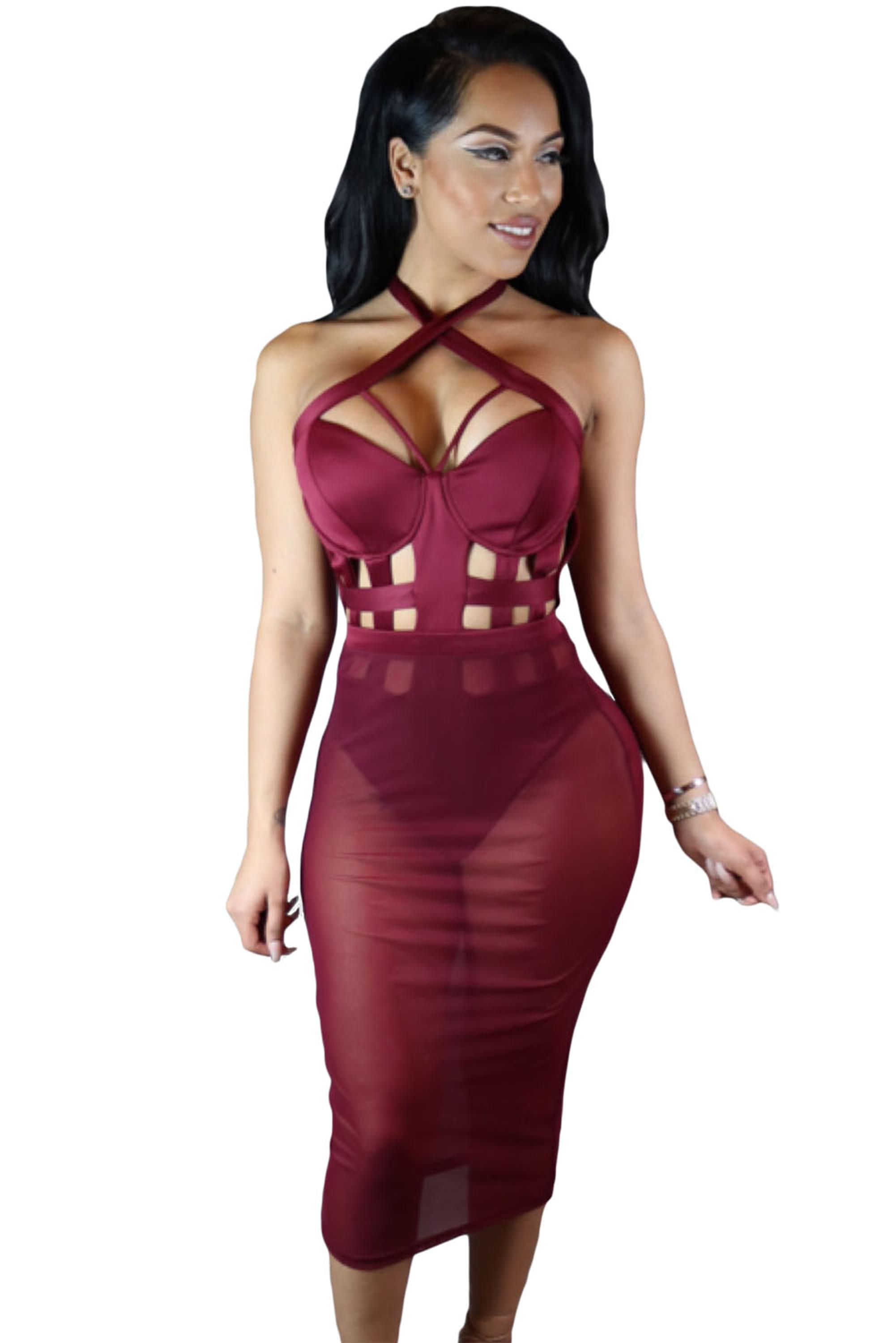 Wine-Caged-Bandage-Bodysuit-with-Sheer-Mesh-Skirt-LC64013-3-1