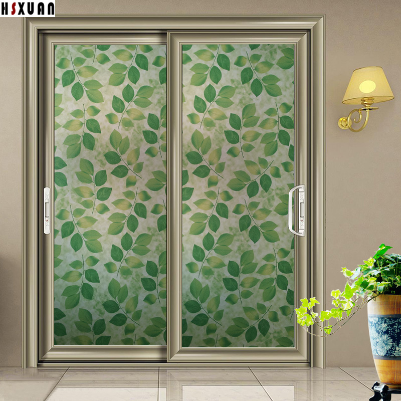 Sliding Glass Door Privacy Decorative Window Film 91x100cm Green  Self Adhesive Glue Stained Window Stickers
