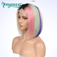 Nyuwa #613 4 т предварительно цветной розовый зеленый фиолетовый синтетические волосы на кружеве натуральные волосы парик короткий боб для женщ