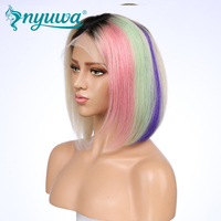 Nyuwa #613 4T Pre Colored Pink Green Purple Lace Front Human Hair Wig Short Bob For Woman Brazilian Remy Hair Natural Hairline