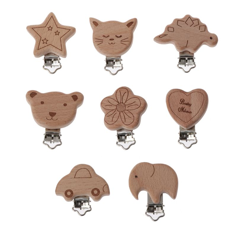 8 Style Lovely Wooden Pacifier Chain Natural Beech Wood Baby Pacifier Clips DIY Dummy Clips Accessory