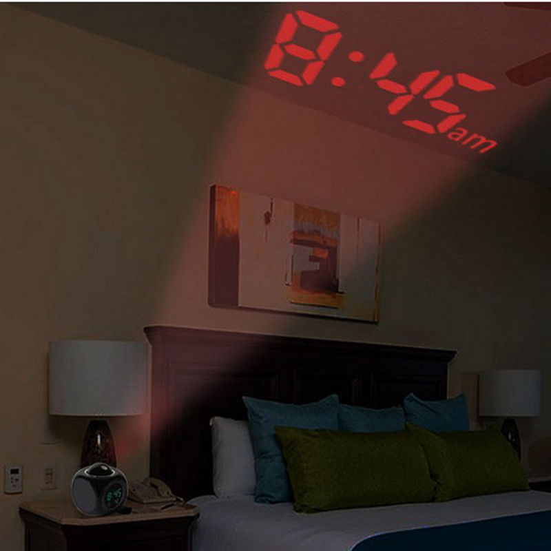 Urijk Digital Projection Alarm Clock Voice Talking Projector Clock Weather Station with Temperature Wake Up Projector LED Clock