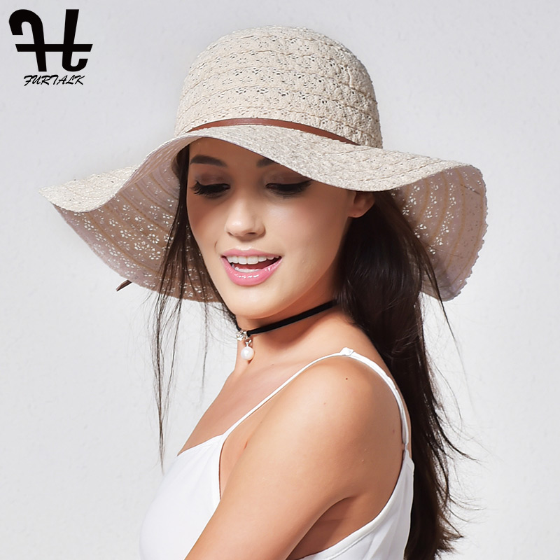 FURTALK Summer Hat For Women Cotton Straw Hat Beach Sun Hat Foldable Floppy Travel Packable Wide Brim Sun Protection Cap 2019