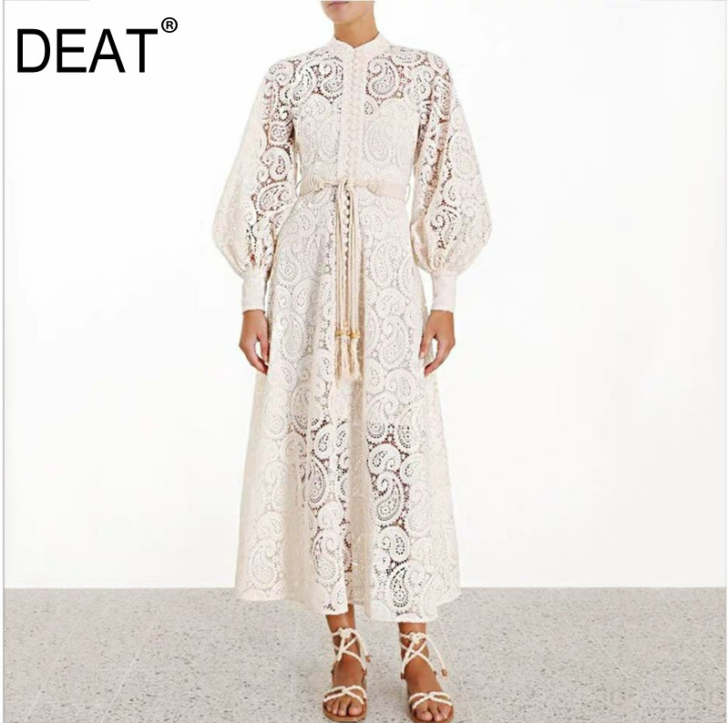 DEAT 2019 new summer fashion women clothes court styles stand collar lantern sleeves lace hollow out