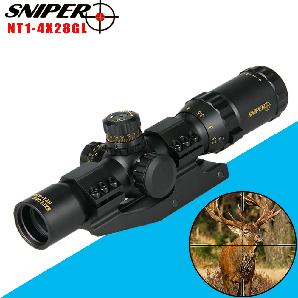Sniper Tactical Scopes 1-4x28 Rifle Scope Red Blue Green Mil-dot Illuminated Sight Optical Scope For Hunting Airgun Riflescope