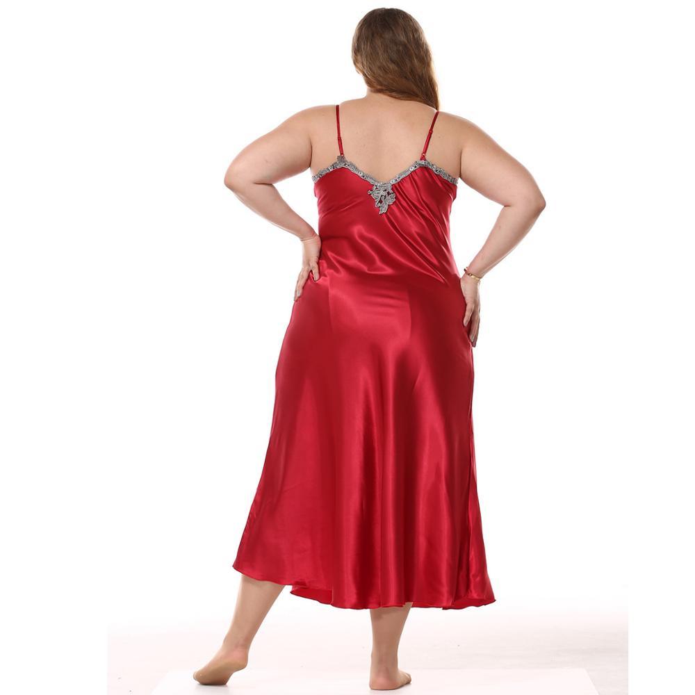 Image 2 - 큰 여성 nightwear nightdress rayon sleepwear 섹시한 v 넥 스파게티 스트랩 나이트 가운 롱 스타일 홈 드레스 nighty plus size xxl잠옷&슬립셔츠속옷&잠옷 -