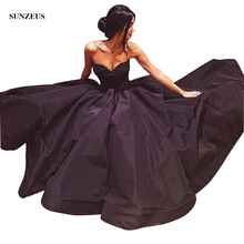 Princess A-Line Formal Black Evening Gowns Sweetheart Taffeta Dresses Long Simple Graceful Party Wear S175