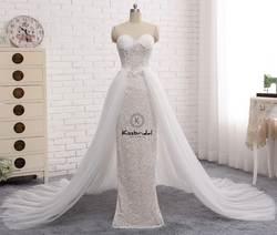 Новая мода кружева Тюль Свадебные платья со съемной поезд 2018 Милая молния Назад платье невесты