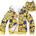 Nova Chegada Boys & Girls Inverno Hoodies do Velo Coral Crianças Pequenas pessoas amarelas Roupas Crianças Dos Desenhos Animados Com Capuz Camisolas T1086