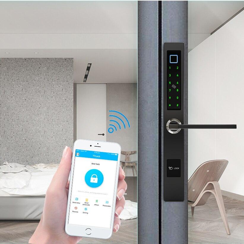 Smart Biometric Fingerprint Lock Aluminum Sliding Door Intelligent Wifi Door Lock With Bluetooth TTLock App