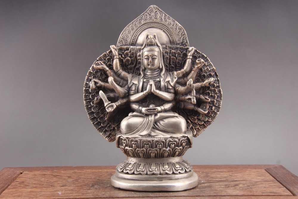 Exquisite Chinese Tibet silver hand carved Guanyin Cupronickel statue of paktong Exquisite Chinese Tibet silver hand carved Guanyin Cupronickel statue of paktong