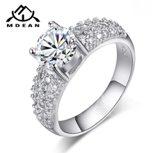 MDEAN White Gold Color Rings For Women Wedding Jewelry Bijoux zirconia vintage Accessories Engagement Bague Bijouterie