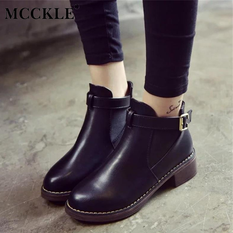 MCCKLE Women Platform Thick Heels Ankle Boots Elastic Band Sewing Female Buckle Strap Short Boots Shoes Ladies Casual Footwear frilly single band ankle strap heels mauve