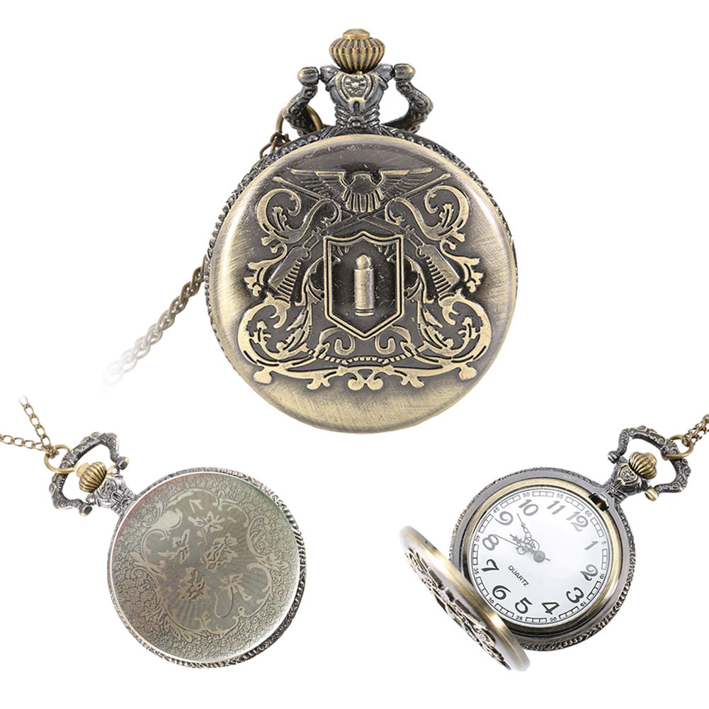 Vintage Retro Alloy Pocket Watch Men Women Necklace Pendant Chain Clock Pocket Fob Watches Gifts LXH