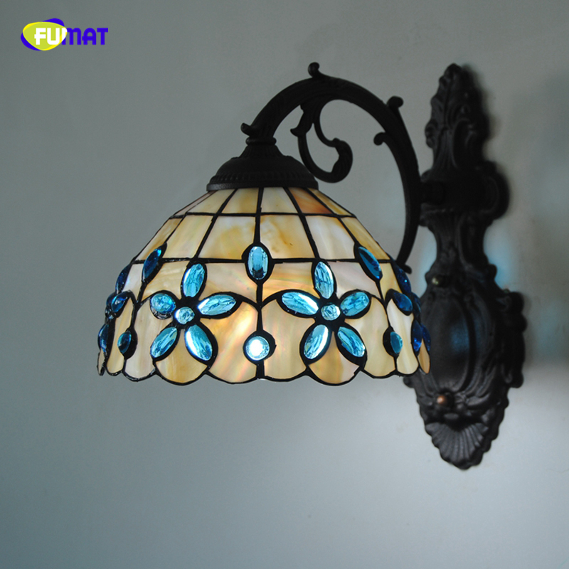 FUMAT Tiffany Style Blue Floral Wall Lamp Sconces Shell Lampshade Wall Light Porch Bedroom Bedside Wall Sconces For Living Room