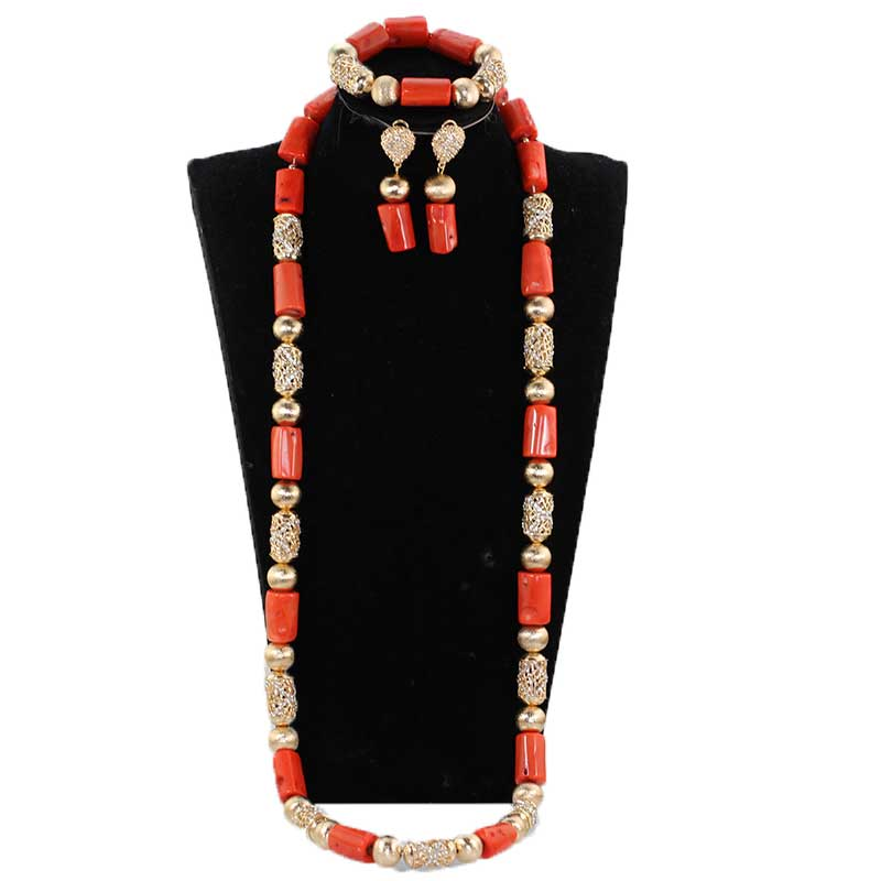 Fabuleux vrai corail perles pour les hommes 40 pouces Long corail collier Bracelet marié parure de bijoux Dubai or mâle corail perles CL150