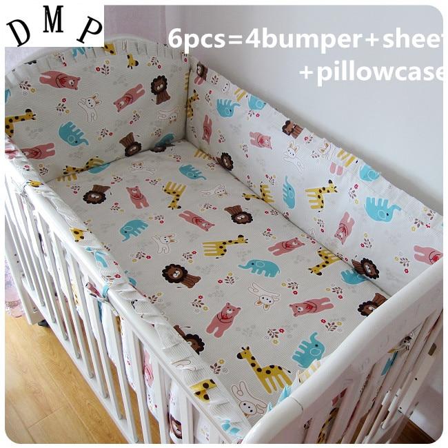 6pcs Cot Linen Baby Bedding Sets Baby Girl Bedding Set De Cuna Protetor De Berco(bumpers+sheet+pillow Cover)