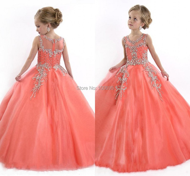 Cupcake Flower Girl Dresses 2015 Beads Pageant Dresses Girls Scoop ...